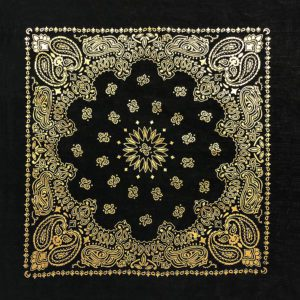 black and gold metallic bandanna
