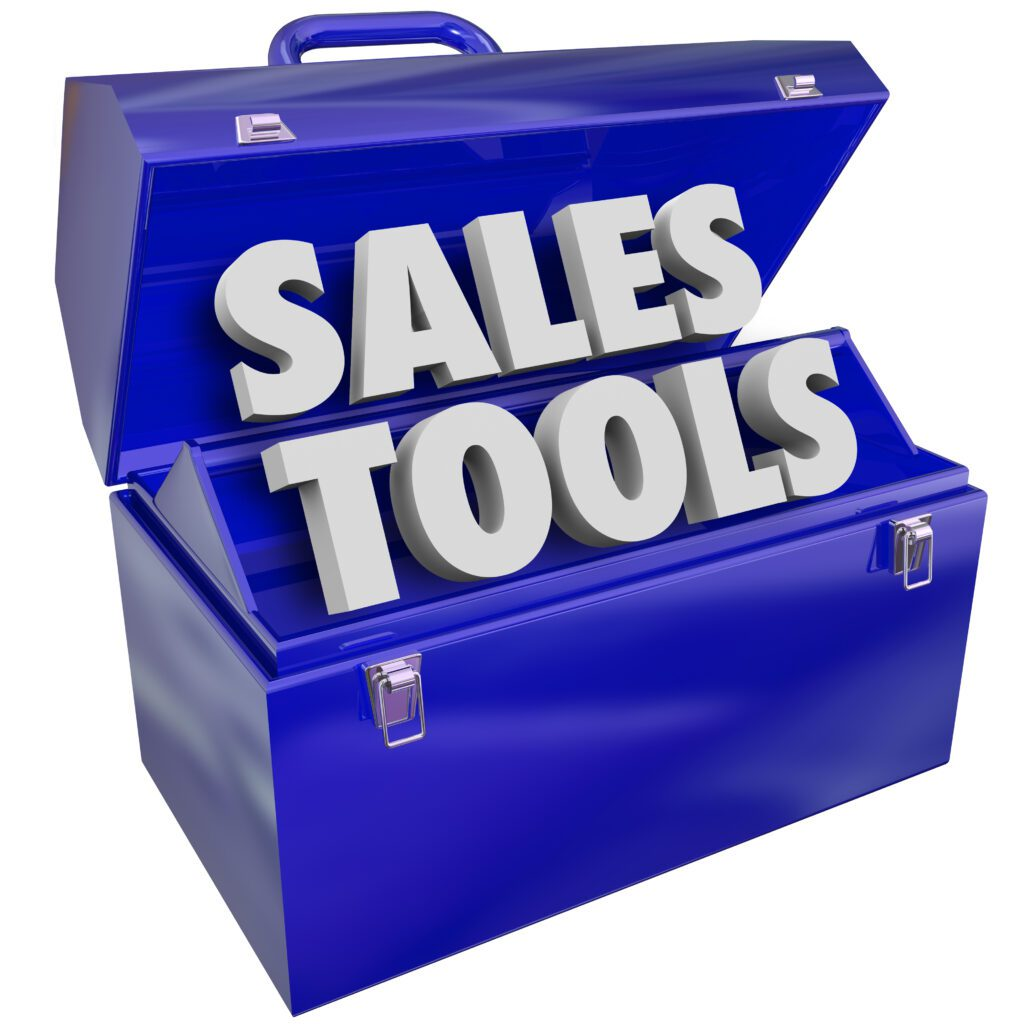 """blue tool box with words """"sales tools"""""""