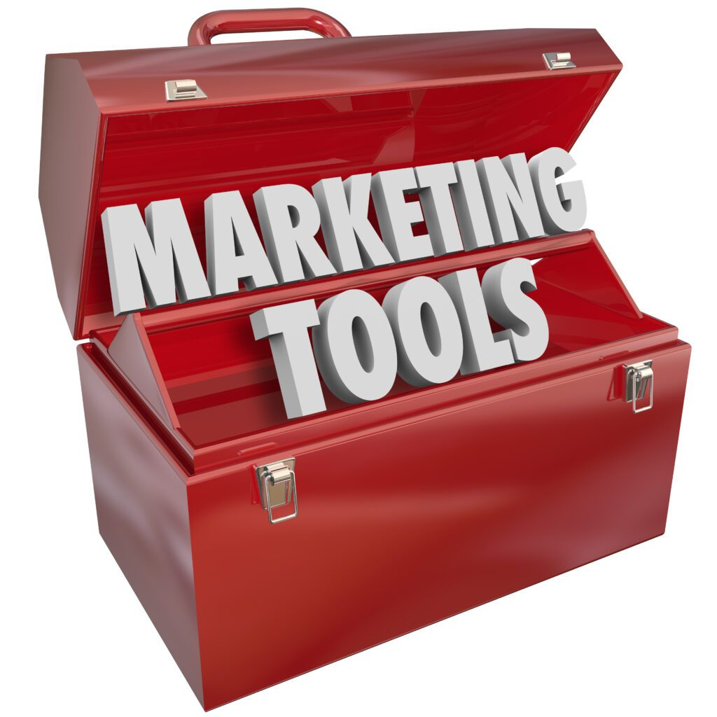 """red tool box with words """"marketing tools"""""""