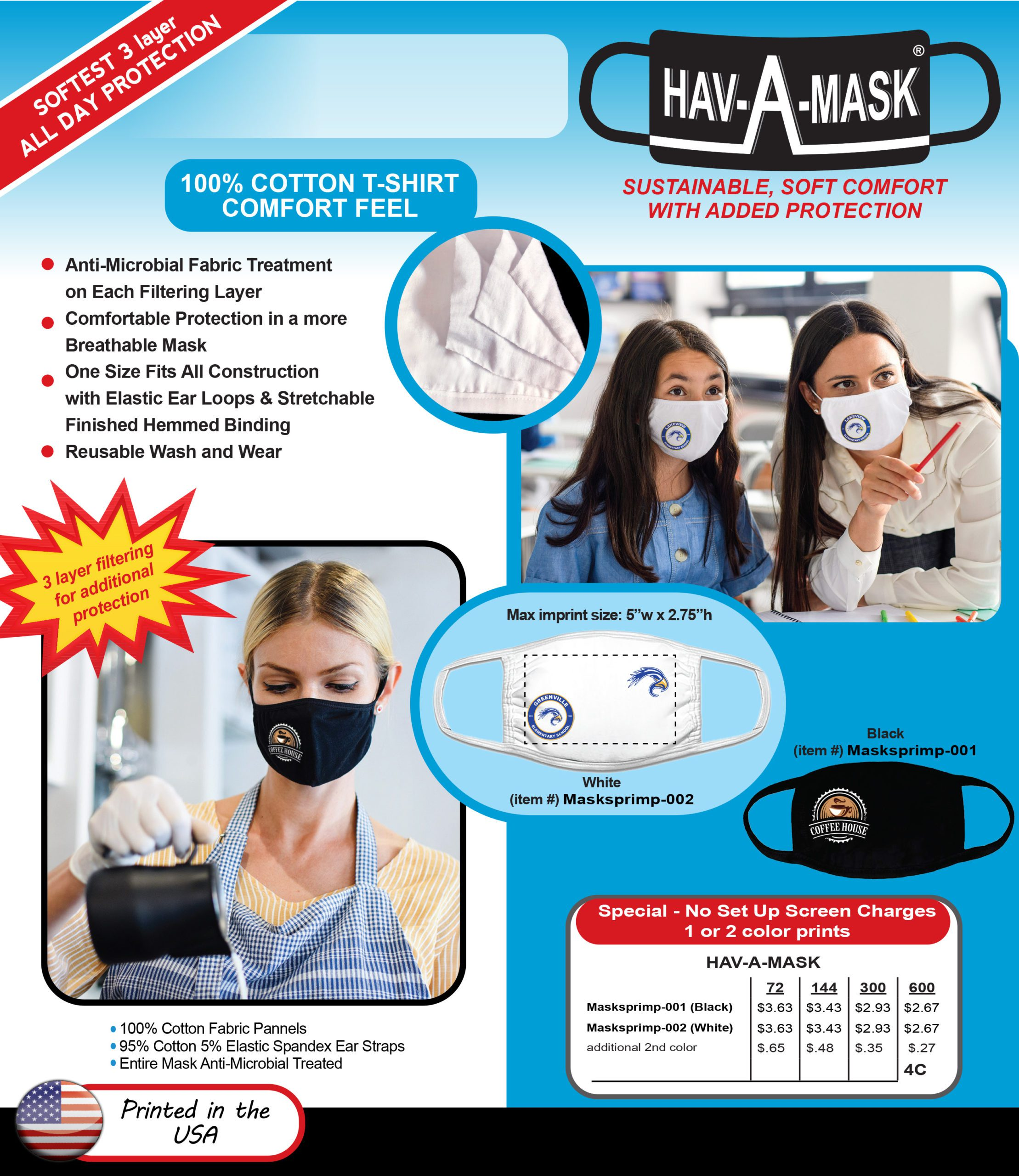 masks diplayed on women in work and school